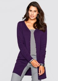 Gilet long en maille, bpc bonprix collection, violet foncé