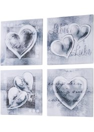 Set de tableaux Love (Ens. 4 pces.), bpc living, gris