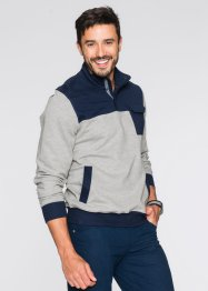 Sweat-shirt col camionneur Regular Fit, bpc selection, gris clair chiné/bleu foncé