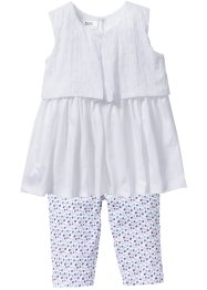 Robe + legging 3/4 (Ens. 2 pces.), bpc bonprix collection, blanc/parme à fleurs
