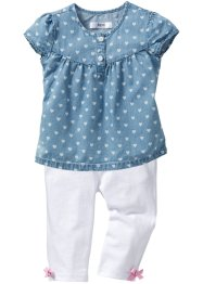 Blouse en jean + legging 3/4 (Ens. 2 pces.), bpc bonprix collection, light blue bleached/blanc