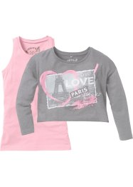 T-shirt crop + top (Ens. 2 pces.), bpc bonprix collection, gris clair/ rose imprimé