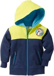 Gilet sweat-shirt à capuche, bpc bonprix collection, bleu foncé/vert citron