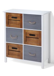 Commode Fabio, bpc living, blanc/bois/gris