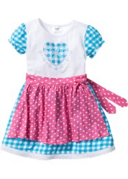Robe + tablier Oktoberfest (Ens. 2 pces.), bpc bonprix collection, rose flamant/bleu caraïbes