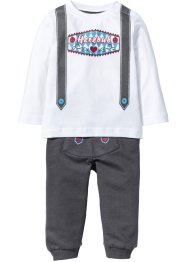 T-shirt bébé à manches longues + pantalon sweat (Ens. 2 pces.) coton bio, bpc bonprix collection, blanc/gris