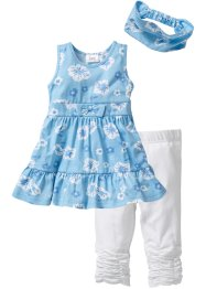 Robe + bandeau + legging 3/4 (Ens. 3 pces.), bpc bonprix collection, bleu clair/blanc