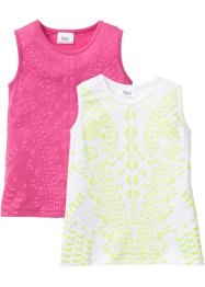 Lot de 2 tops à motif structuré, bpc bonprix collection, fuchsia + blanc