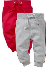 Lot de 2 pantalons sweat bébé, bpc bonprix collection, gris clair chiné/rouge