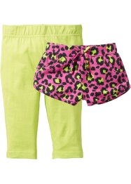 Short + legging 3/4 (Ens. 2 pces.), bpc bonprix collection, fuchsia imprimé+vert kiwi
