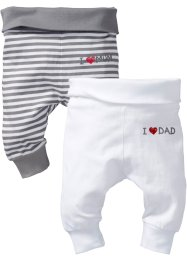 Lot de 2 pantalons bébé en coton bio, bpc bonprix collection, blanc/gris