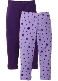 Lot de 2 leggings, bpc bonprix collection, mauve imprimé+violet foncé