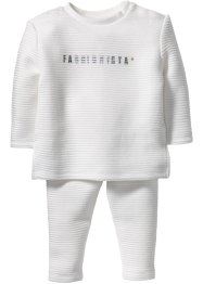 Sweat-shirt bébé + pantalon sweat structuré (Ens. 2 pces.), bpc bonprix collection, blanc cassé