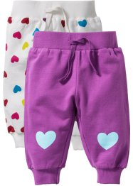 Lot de 2 pantalons sweat bébé coton bio, bpc bonprix collection, blanc cassé/prune