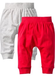 Lot de 2 pantalons bébé en coton bio, bpc bonprix collection, écru/rouge chiné