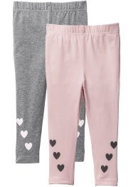 Lot de 2 leggings, bpc bonprix collection, gris chiné/rose dragée imprimé