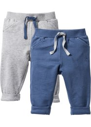Lot de 2 pantalons sweat bébé coton bio, bpc bonprix collection, gris clair chiné/indigo