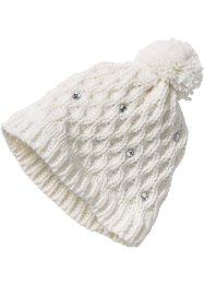 Bonnet en maille avec strass, bpc bonprix collection, blanc cassé