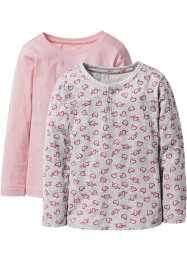 Lot de 2 T-shirts à patte de boutonnage, bpc bonprix collection, gris clair imprimé+rose