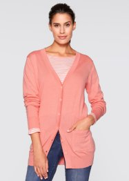 Gilet long en maille, manches longues, bpc bonprix collection, rose saumon