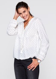 Blouse-tunique, bpc bonprix collection, blanc cassé/indigo imprimé
