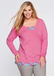 T-shirt manches longues 2 en 1, bpc bonprix collection, fuchsia mat
