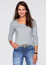 T-shirt extensible manches longues, bpc bonprix collection, gris clair chiné