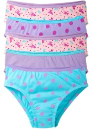 Lot de 5 slips, bpc bonprix collection, bleu ciel/mauve/rose poudré imprimé