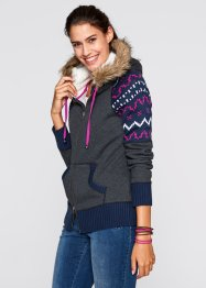 Gilet sweat-shirt, bpc bonprix collection, gris chiné