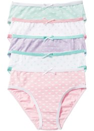 Lot de 5 slips, bpc bonprix collection, blanc/rose/mauve/menthe