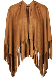 Poncho à franges, bpc bonprix collection, cognac