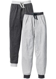 Lot de 2 pantalons de pyjama, bpc bonprix collection, gris clair chiné/anthracite chiné