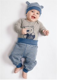 Body bébé à manches longues + pantalon + bonnet (Ens. 3 pces.) en coton bio, bpc bonprix collection, anthracite chiné/gris clair chiné rayé