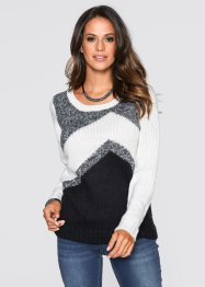 Pull, bpc selection, blanc cassé/noir/anthracite chiné