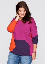 Pull style patchwork, bpc bonprix collection, fuchsia/rouge/prune