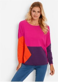 Pull style patchwork, bpc bonprix collection, gris clair chiné/bleu saphir/noir