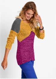 Pull, bpc bonprix collection, fuchsia/gris chiné/jaune safran