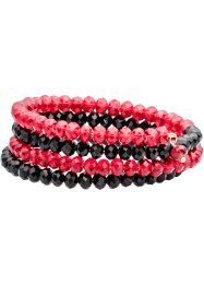 Bracelet multi-rangs avec pierres brillantes, bpc bonprix collection, bordeaux/noir