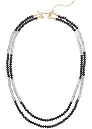Collier 2 rangs avec pierres brillantes, bpc bonprix collection, gris/noir