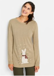 Pull en maille à motif lapin, bpc bonprix collection, new beige