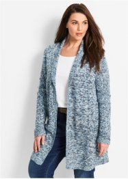 Gilet long en maille, manches longues, bpc bonprix collection, gris bleu chiné