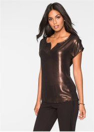 T-shirt brillant, BODYFLIRT, marron brillant