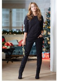 Pantalon extensible, bpc bonprix collection, noir imprimé