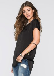 Blouse en satin, RAINBOW, noir