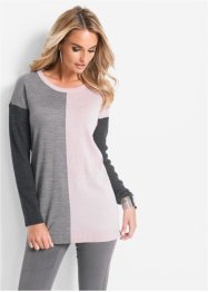 Pull, bpc selection, anthracite chiné/gris clair chiné/rose dragée