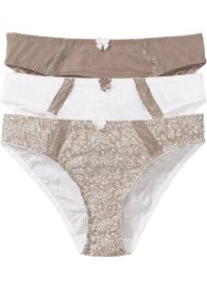 Lot de 3 slips, bpc bonprix collection, imprimé+blanc cassé+taupe