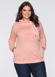 Sweat-shirt de grossesse avec grand col, bpc bonprix collection, corail clair