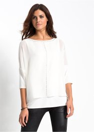 Blouse avec application de strass, BODYFLIRT, blanc cassé