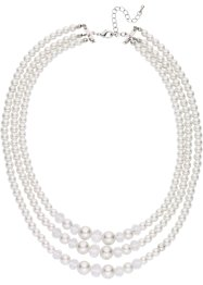 Collier de perles 3 rangs, bpc bonprix collection, crème/transparent