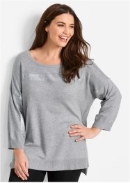 Pull court-long avec application brillante, bpc bonprix collection, gris clair chiné